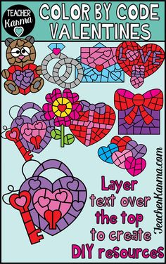 Valentines Day Color by Code Clipart to Create Your Own Resources for TpT or Your Class Valentines Day Clipart, Valentines Day Activities, Valentine Day Gifts, Create Your Own, Create Yourself, Shape Templates, Class Teacher, Teaching Resources, Teaching Ideas