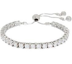 Diamonique Adjustable Bracelet, Sterling