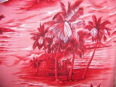 Vintage Hawaiian Aloha Shirt by Bishop St. Size Large Hot Pink. $24.99, via Etsy.
