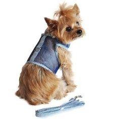 Seersucker Cool Mesh Dog Harness - Navy and Hunter Green Plaid