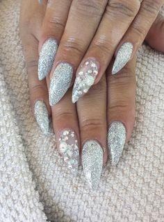 Silver stiletto nails