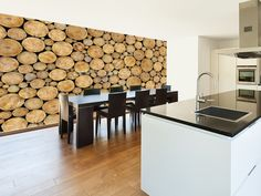 Wood Texture Dark Finish Wall Mural In Room View | Wood And Log Effect Wall  Murals | Pinterest | Wall Murals
