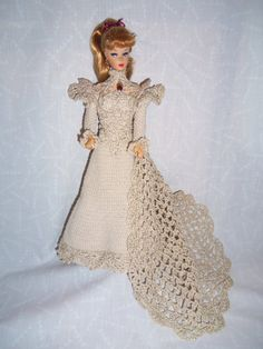 Crochet Barbie Wedding Dress by CandiesCollectables on Etsy, $45.00
