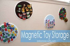 DIY on-the-wall storage for your kid's magnetic toys using dollar-store pizza pans.