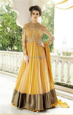 Anarkali Style Yellow Color with Butta Work Incredible Unstitched Salwar Kameez. Yellow Color with Resham Work Nice Looking Unstitched Salwar Kameez The lovely Lace & Resham work a substantial attribute of this attire. Anarkali Gown, Anarkali Suits, Lehenga Choli, White Anarkali, Indian Anarkali, Saree Dress, Gown Dress, Pakistani, Sarees