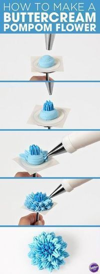 Buttercream Pompom Flower – Cake and Cupcake Decorating Technique - 17 Amazing Cake Decorating Ideas, Tips and Tricks That'll Make You A Pro #cakedecoratingtechniques
