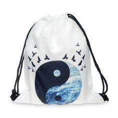 Top Quality women backpack printing bag for picnic mochila feminina harajuku drawstring bag mens backpacksTaiji Bagua