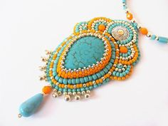Bead Embroidery Necklace spring orange turquoise silver seed beaded necklace spring trend bead embroidery necklace unique seed beads pendant on Etsy, $91.10