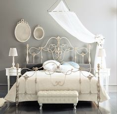 Fancy Wrought Iron Beds With Silver Color White Iron Beds Wrought Iron Bed Frames Rod Iron Beds. Complete Your Bedroom Needs With Dillards Bedroom Furniture Sets Decohoms - The Golden Ways White Iron Beds, Bed Frame, Chic Bedroom, Rod Iron Beds, Bed, Bedroom Vintage, Bedroom Decor, Girl Bedroom Decor, Remodel Bedroom