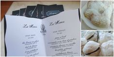Menus for Paris party and french treats