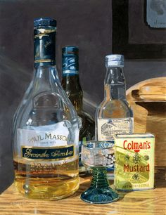 Cocktails glass bottles liquor still life acrylic by artbylmr