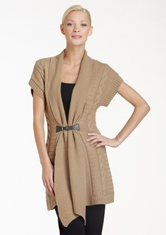 MICHAEL michael kors BELTED SHORT-SLEEVE CARDIGAN | Classically ...