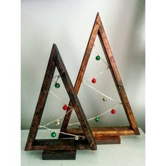 Set of *Two* Rustic Christmas Ornament Trees!  Constructed from solid wood, these trees are stained brown and stand on an (attached) wooden