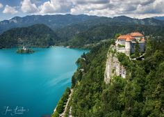 Breathtaking aerial view of Lake Bled with its island and overlooking Bled Castle