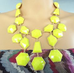 Gold with yellow geometric resin bib statement necklace on Etsy, $14.99