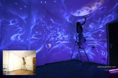 Artist Bogi Fabian Creates Hidden Bedroom Murals Using Glowing UV Paints. Fabian uses UV paint to fill the room with hidden mural work, often working for long hours in black light to see what she is creating. Read more at http://www.visualnews.com/2015/01/10/artist-bogi-fabian-creates-hidden-bedroom-murals-using-glowing-uv-paints/#wvjulZmMTw1iSqYZ.99