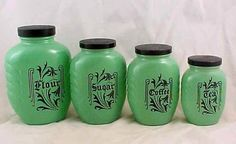VINTAGE 1930'S HAZEL ATLAS ART DECO DEPRESSION GLASS FIRED ON GREEN CANISTER SET