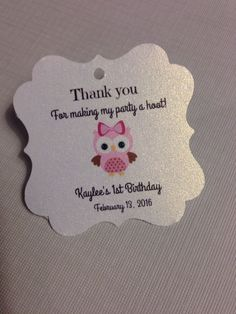 20 Owl Themed Favor Tag Birthday Favor Baby Shower Tag Owl Personalized | eBay Owl Themed Parties, Owl Parties, Owl Birthday Parties, Birthday Favors, Owl Party Favors, Birthday Ideas, Owl First Birthday, Little Girl Birthday, Homemade Baby Shower Favors