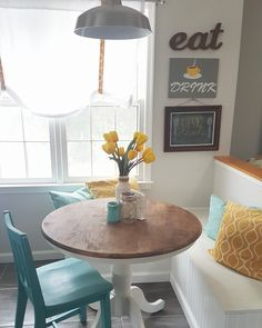 grey, yellow, teal modern kitchen and DIY breakfast nook area