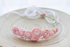 Pink White Ranunculus flower floral crown hair wreath, Wedding headpiece, headband, vintage inspired rose crown, french ribbon