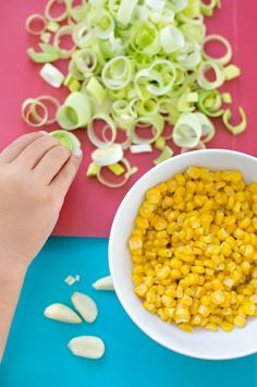 Check out this easy Pappardelle with Leeks and Corn recipe, there are some great opportunities for hands-on  exploration of some new and different vegetables!