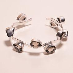 Faceted Smoky Topaz Quartz . 925 Silver Handmade Bangle Cuff Jewelry H57 #Handmade