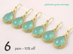 Wedding Jewelry Set of 6 10% Off, Mint Green Earrings for Bridesmaids Gift Idea, Maid of Honor Gift, Dangle Earrings, Green Wedding Idea