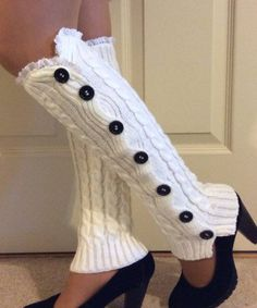 White leg warmerWhite cable knit leg warmers with by SongulDesigns Knitted Boot Cuffs, Crochet Boots, Knit Boots, Crochet Slippers, Knitting Socks, Crochet Clothes, Knit Crochet, Hunter Boots Outfit, Crochet Leg Warmers
