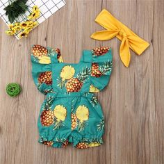 Pineapple Print Fly Sleeve Sunsuit W/ Matching Headband Baby Finding the Perfect Gender. Baby Girl Fashion, Kids Fashion, Cute Babies, Baby Kids, Baby Kicking, Pineapple Print, After Baby, Pregnant Mom, Cute Baby Clothes