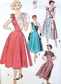RARE 1950s Cut In Two, Promotional Dress Pattern Two Separate Halves, Two Pattern Pcs, Bombshell Marilyn Style Casual or Evening Quick N Easy McCalls 9393A Vintage Sewing Pattern Bust 32