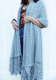 The Cozy Hygge Blanket Wrap (rectangular shawl) is a fast and easy crochet pattern that you are going to love making and love wearing even more! Crochet Wrap Pattern, Crochet Poncho, Crochet Scarves, Crochet Yarn, Crochet Clothes, Crochet Stitches, Free Crochet, Crochet Blankets, Crochet Style