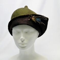 Felted hat- wool and feathers