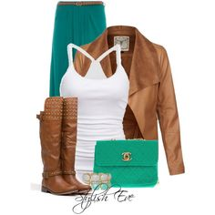 #outfit #outfits #fashion #girl #girly #channelbag #bag #channel #bracelet #cognac #leatherjacket #maxiskirt #beltedskirt #boot #top #whitetop #cool #awesome