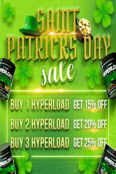 ⏰ Take advantage of our St. Patricks Day sale for a limited time! 🔈 No code required 🍀 Buy 1 HyperLoad Get 15% OFF 🍀 Buy 2 HyperLoad Get 20% OFF 🍀 Buy 3 HyperLoad Get 25% OFF ... and you could get your entire order credited back to you! Yes, when you take advantage of our St. Patricks Day sale today, you'll also be entering into the draw for a chance at having your entire order credited back to you. Fat Burner Supplements, The Draw, Buy 1, Health, Health Care, Salud