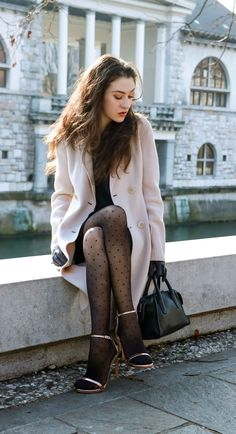 Here is a chic and sexy transitional party outfit you can wear for ladies night out - a little black dress, coat, polka dot tights and sandals - check here Fashion Tights, Tights Outfit, Fashion Outfits, Womens Fashion, Pantyhose Fashion, Polka Dot Tights, Patterned Tights, Polka Dots, Pantyhose Outfits