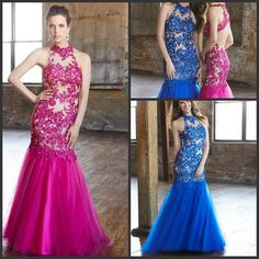 Discount 2015 Elegant Halter Pageant Dresses Mermaid Sheer Lace Tulle Prom Dresses Sleeveless Applique Floor-Length Evening Gowns BL74 Online with $178.12/Piece | DHgate