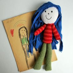 Blue Haired Kindie Doll by beeperbebe: Made of upcycled, felted sweaters. Inspired by a childhood drawing! #Doll #Plushie #bepperbebe