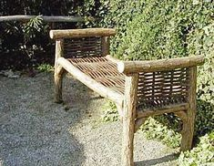 Settee Willow Bench This would look awesome on my deck! Handmade Furniture, Rustic Furniture, Outdoor Furniture, Outdoor Decor, Willow Furniture, Garden Furniture, Outdoor Spaces, Outdoor Living, Nachhaltiges Design