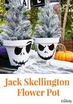 Perfectly frightful for Halloween and absolutely festive for Christmas, this Jack Skellington Flower Pot will shock and delight all holiday season long.