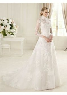 Lace and Organza High Collar A-Line Style with Lace Illusion Overlay 2013 Wedding Dresses