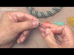 Artbeads Mini Tutorial - Cellini Spiral Stitch with Cynthia Kimura. In this Artbeads Mini Tutorial, Cynthia Kimura shows you how to complete the Cellini spiral stitch step-by-step. Find the items featured in this video here: . The Cellini spiral is Beading Techniques, Beading Tutorials, Jewelry Patterns, Beading Patterns, Seed Bead Jewelry, Beaded Jewelry, Necklace Tutorial, Beads And Wire, Bead Crochet