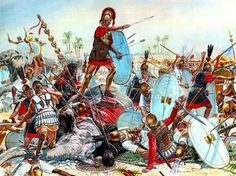 The Battle of Cannae 216 BC; which resulted in a disastrous defeat and ensuing massacre for the Romans. Hannibal was able to use the Roman strategy of overwhelming the enemy with a methodical advance until the enemy line breaks, against them. Hannibal, being outnumbered, deliberately weakened his center. As the Romans advanced, they believed they were winning bc the enemy center was giving away. As more Romans advanced into Hannibals line, they were unknowingly being enveloped.