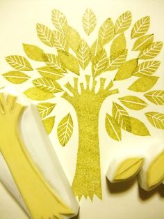 TREE with 3 leaves  hand carved rubber stamp set by talktothesun