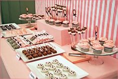 cute pink and white dessert table