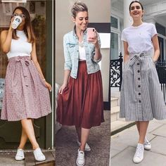 skirt and sneakers outfit casual skirt and sneakers outfit Girls Fashion Clothes, Modest Fashion, Fashion Dresses, Long Skirt Fashion, Modest Dresses, Stylish Dresses, Casual Dresses, Modest Clothing, Cute Casual Outfits