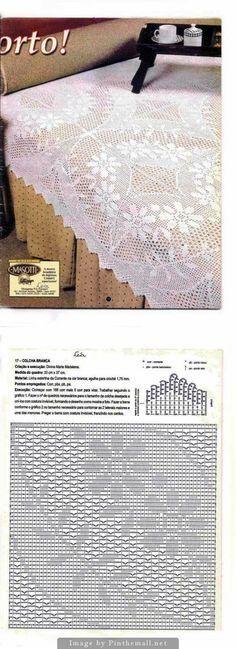 Filet crochet lace bedspread square with flower wreath design ~~