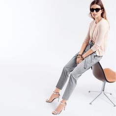 J.Crew Looks We Love: women's Collection featherweight cashmere cardigan, Collection featherweight cashmere shell top, tie-front pant, Sam sunglasses, pavé and tortoise double-link bracelet and mirror metallic high-heel sandals.