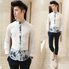2014 Long-sleeve Unique Design Splicing Floral Shirt Slim Fit Party Night Club Shirts Hot Sale $25.88 Mens Shirts Sale, Nerd Fashion, Mens Trends, Club Shirts, Androgynous Fashion, Refashion, Shirt Style, Casual Shirts, Shirt Designs