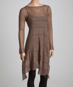 Look what I found on #zulily! Mocha Crochet Tunic - Women & Plus by Gizel #zulilyfinds