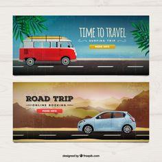 Banners de viaje realista Vector Gratis